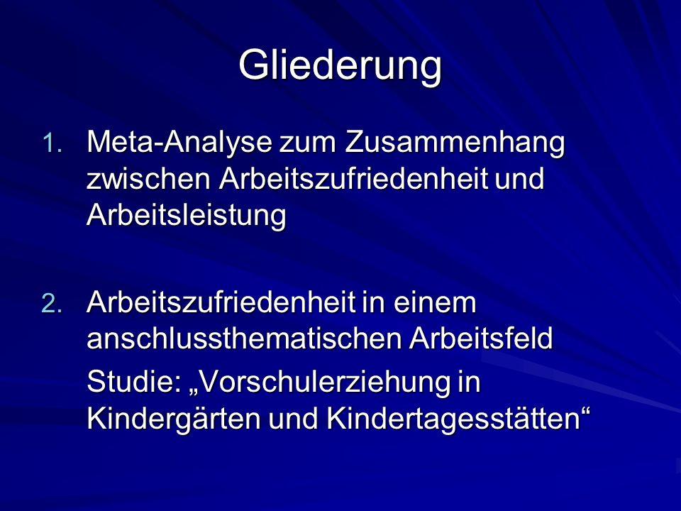 Gliederung 1. Meta-Analyse zum Zusammenhang zwischen Arbeitszufriedenheit und Arbeitsleistung 2. Arbeitszufriedenheit in einem anschlussthematischen A