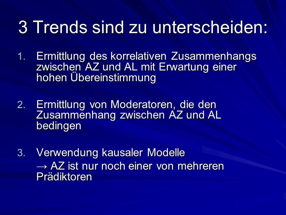 3 Trends sind zu unterscheiden: 1. Ermittlung des korrelativen Zusammenhangs zwischen AZ und AL mit Erwartung einer hohen Übereinstimmung 2. Ermittlun