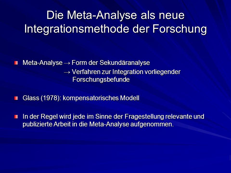 Die Meta-Analyse als neue Integrationsmethode der Forschung Meta-Analyse Form der Sekundäranalyse Verfahren zur Integration vorliegender Forschungsbef