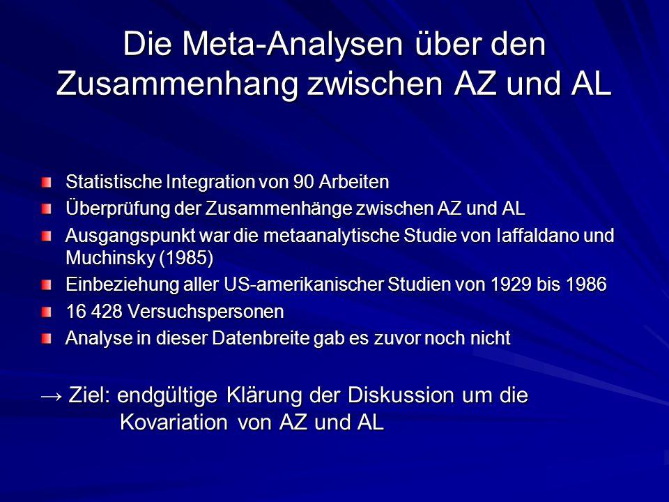 Die Meta-Analysen über den Zusammenhang zwischen AZ und AL Statistische Integration von 90 Arbeiten Überprüfung der Zusammenhänge zwischen AZ und AL A
