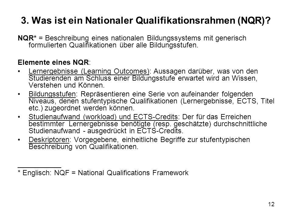12 3. Was ist ein Nationaler Qualifikationsrahmen (NQR)? NQR* = Beschreibung eines nationalen Bildungssystems mit generisch formulierten Qualifikation