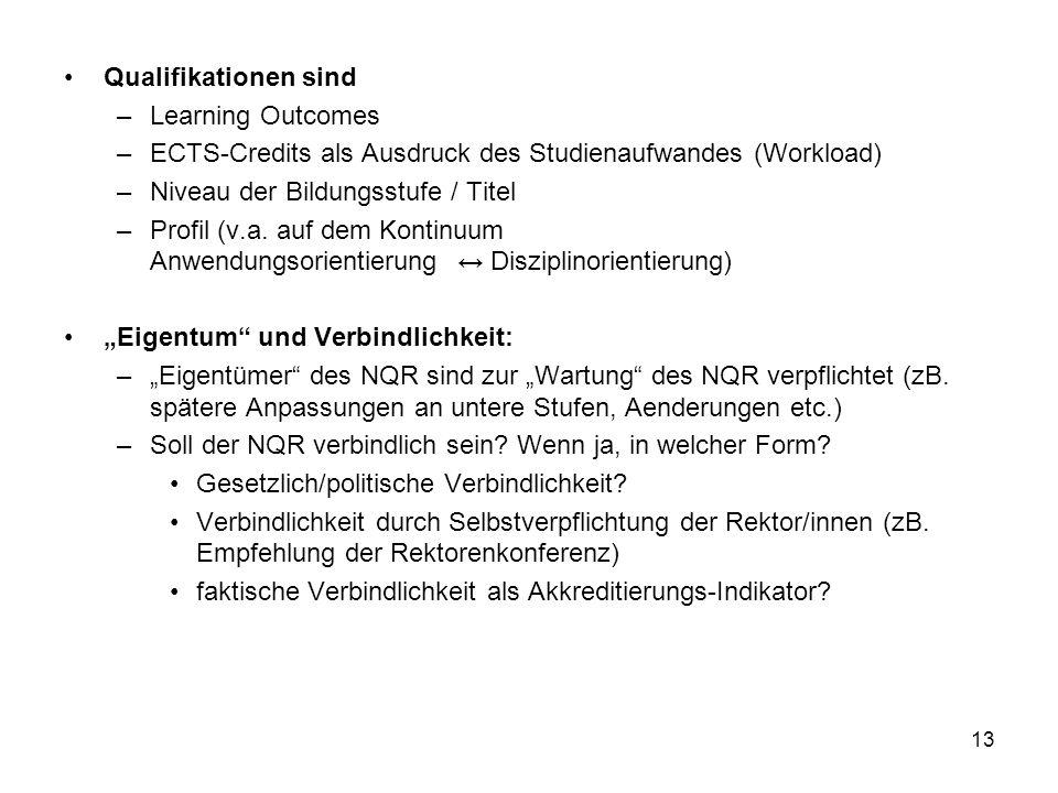 13 Qualifikationen sind –Learning Outcomes –ECTS-Credits als Ausdruck des Studienaufwandes (Workload) –Niveau der Bildungsstufe / Titel –Profil (v.a.