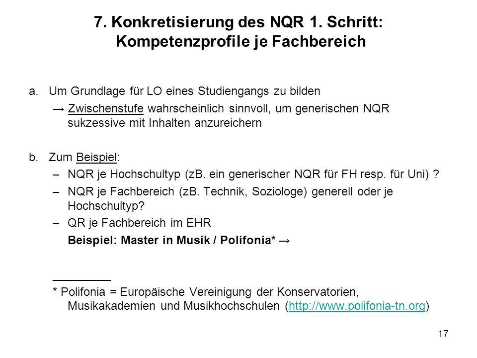 17 7. Konkretisierung des NQR 1. Schritt: Kompetenzprofile je Fachbereich a. Um Grundlage für LO eines Studiengangs zu bilden Zwischenstufe wahrschein