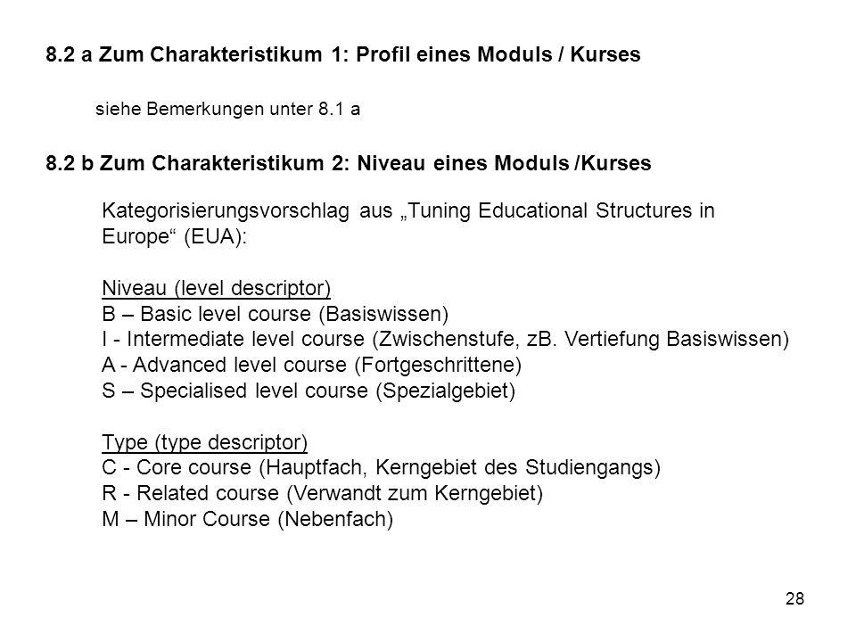 28 8.2 a Zum Charakteristikum 1: Profil eines Moduls / Kurses siehe Bemerkungen unter 8.1 a 8.2 b Zum Charakteristikum 2: Niveau eines Moduls /Kurses