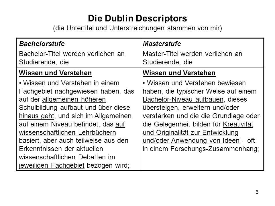 5 Die Dublin Descriptors (die Untertitel und Unterstreichungen stammen von mir) Bachelorstufe Bachelor-Titel werden verliehen an Studierende, die Mast