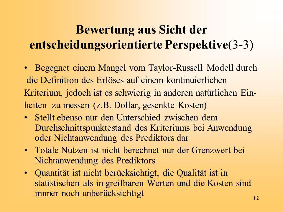 12 Bewertung aus Sicht der entscheidungsorientierte Perspektive(3-3) Begegnet einem Mangel vom Taylor-Russell Modell durch die Definition des Erlöses