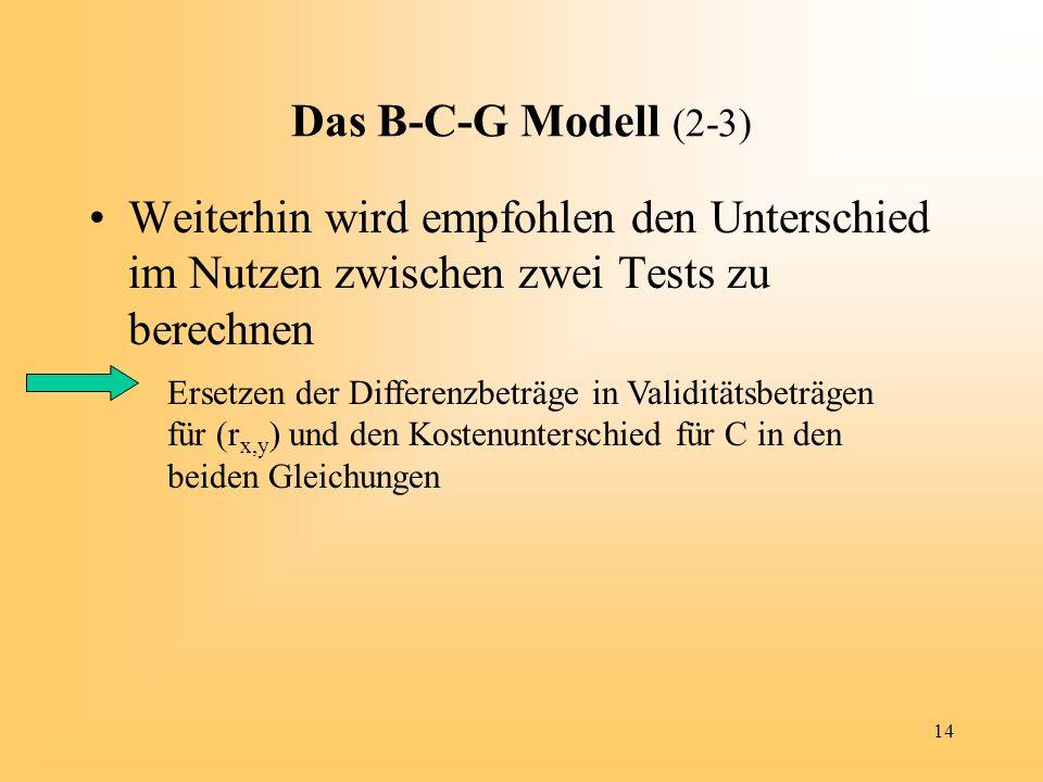 14 Das B-C-G Modell (2-3) Weiterhin wird empfohlen den Unterschied im Nutzen zwischen zwei Tests zu berechnen Ersetzen der Differenzbeträge in Validit