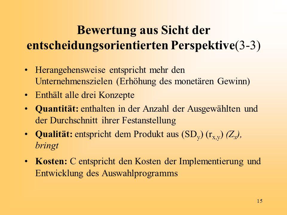 15 Bewertung aus Sicht der entscheidungsorientierten Perspektive(3-3) Herangehensweise entspricht mehr den Unternehmenszielen (Erhöhung des monetären