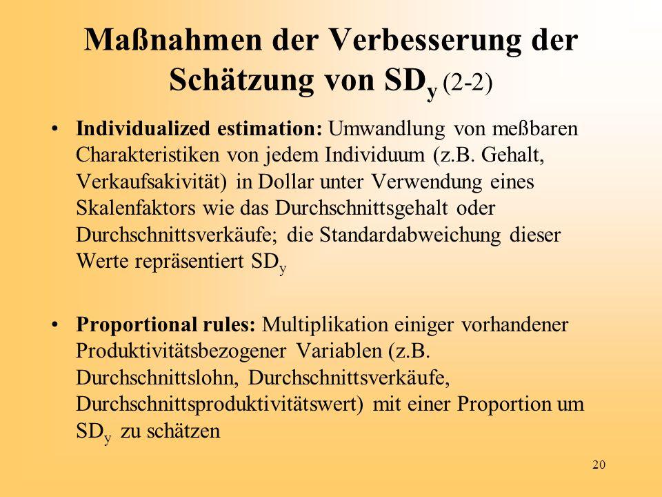 20 Maßnahmen der Verbesserung der Schätzung von SD y (2-2) Individualized estimation: Umwandlung von meßbaren Charakteristiken von jedem Individuum (z