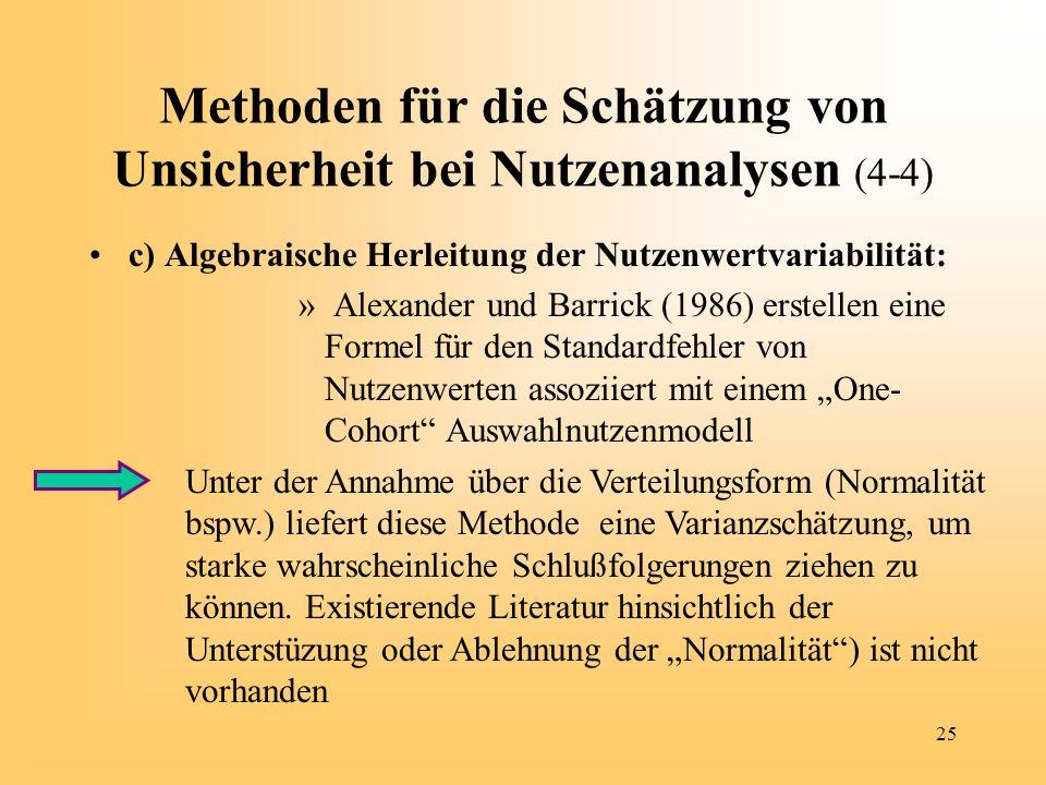 25 Methoden für die Schätzung von Unsicherheit bei Nutzenanalysen (4-4) c) Algebraische Herleitung der Nutzenwertvariabilität: » Alexander und Barrick