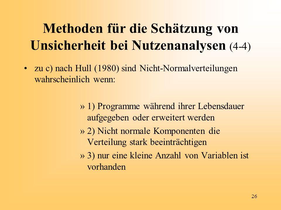 26 Methoden für die Schätzung von Unsicherheit bei Nutzenanalysen (4-4) zu c) nach Hull (1980) sind Nicht-Normalverteilungen wahrscheinlich wenn: »1)