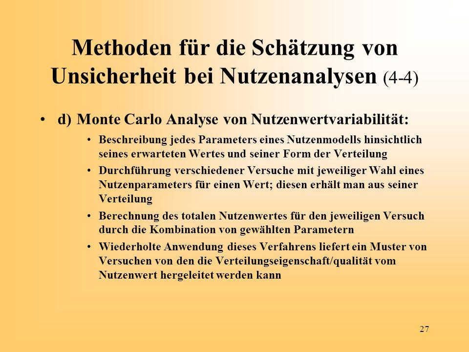 27 Methoden für die Schätzung von Unsicherheit bei Nutzenanalysen (4-4) d) Monte Carlo Analyse von Nutzenwertvariabilität: Beschreibung jedes Paramete