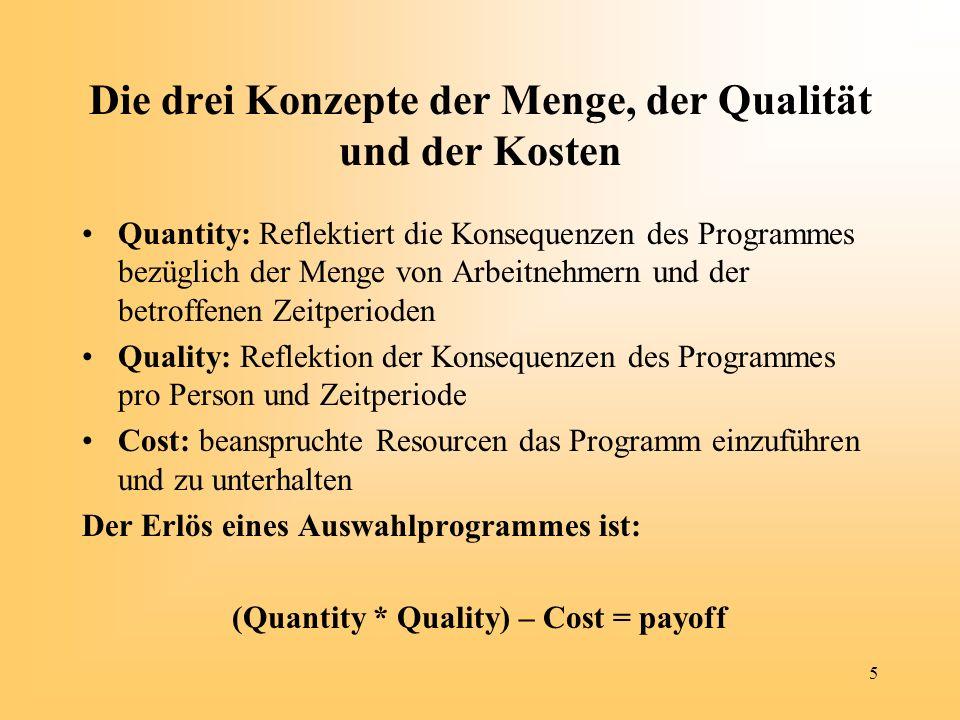 5 Die drei Konzepte der Menge, der Qualität und der Kosten Quantity: Reflektiert die Konsequenzen des Programmes bezüglich der Menge von Arbeitnehmern