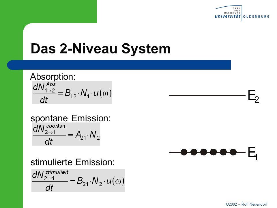 2002 – Rolf Neuendorf Das 2-Niveau System Absorption: spontane Emission: stimulierte Emission: