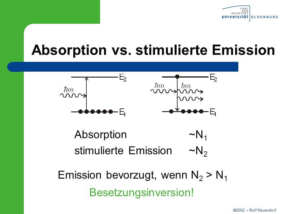 2002 – Rolf Neuendorf Absorption vs. stimulierte Emission Absorption ~N 1 stimulierte Emission~N 2 Emission bevorzugt, wenn N 2 > N 1 Besetzungsinvers