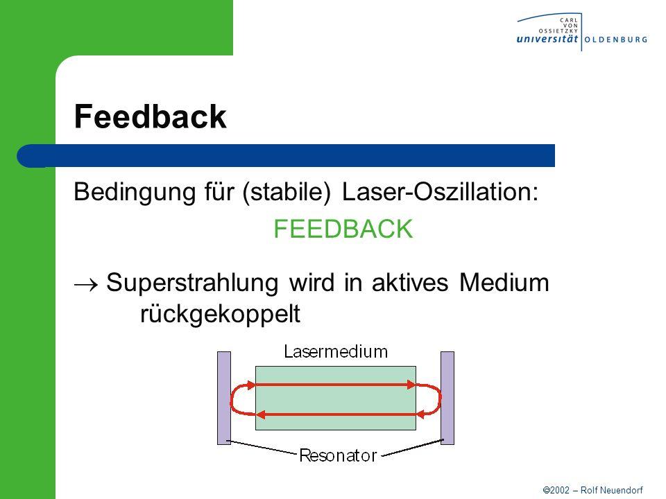 2002 – Rolf Neuendorf Feedback Bedingung für (stabile) Laser-Oszillation: FEEDBACK Superstrahlung wird in aktives Medium rückgekoppelt