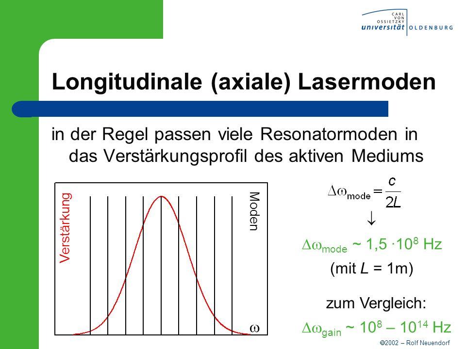 2002 – Rolf Neuendorf Longitudinale (axiale) Lasermoden in der Regel passen viele Resonatormoden in das Verstärkungsprofil des aktiven Mediums mode ~
