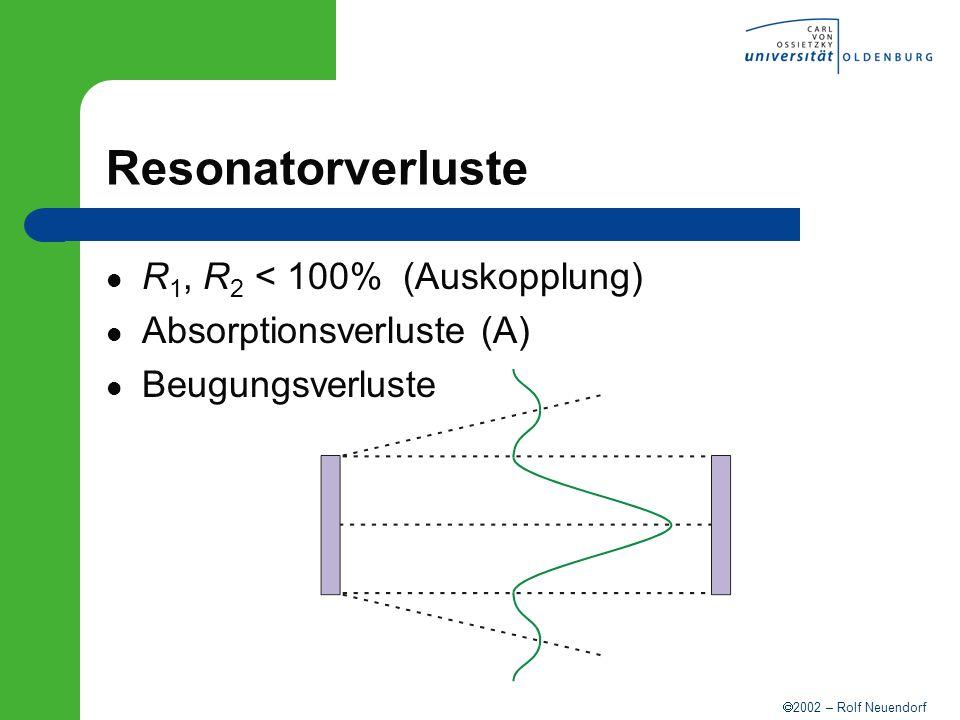2002 – Rolf Neuendorf Resonatorverluste R 1, R 2 < 100% (Auskopplung) Absorptionsverluste (A) Beugungsverluste