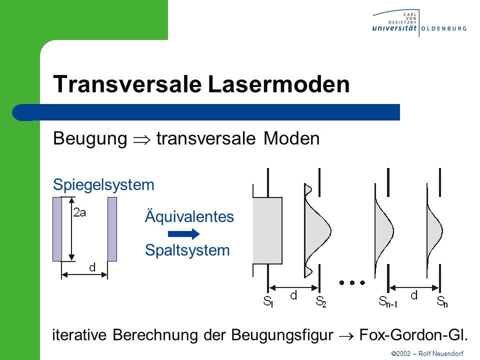 2002 – Rolf Neuendorf Äquivalentes Spaltsystem Transversale Lasermoden Beugung transversale Moden Spiegelsystem iterative Berechnung der Beugungsfigur