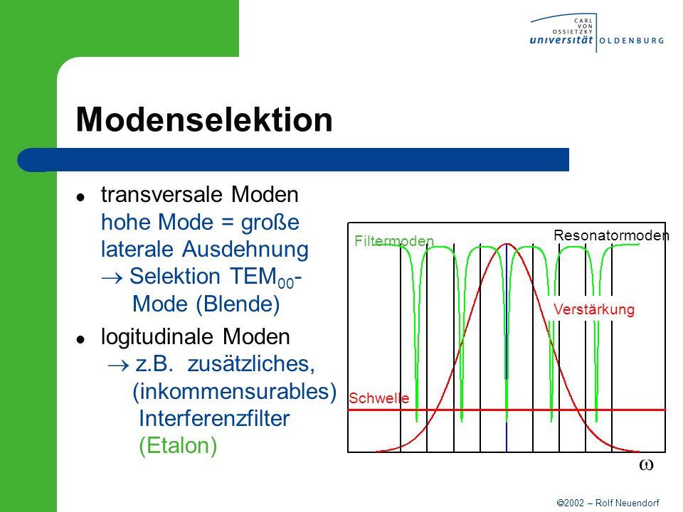 2002 – Rolf Neuendorf Modenselektion transversale Moden hohe Mode = große laterale Ausdehnung Selektion TEM 00 - Mode (Blende) logitudinale Moden z.B.