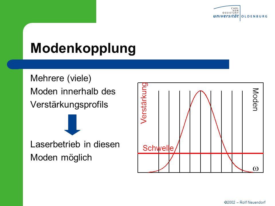 2002 – Rolf Neuendorf Modenkopplung Mehrere (viele) Moden innerhalb des Verstärkungsprofils Laserbetrieb in diesen Moden möglich Verstärkung Moden Sch