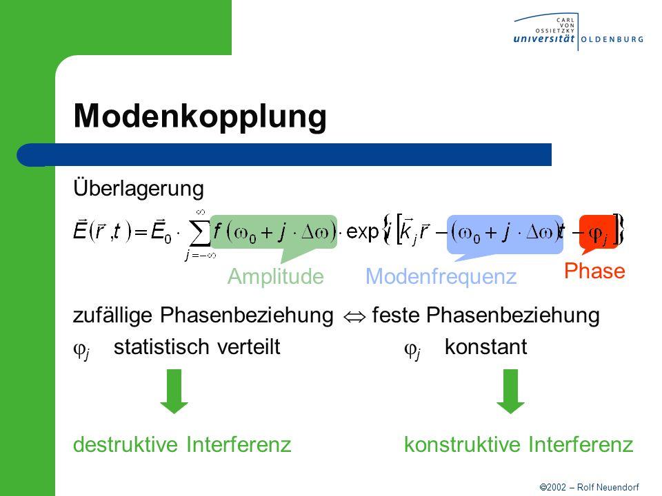 2002 – Rolf Neuendorf AmplitudeModenfrequenz Phase Modenkopplung Überlagerung zufällige Phasenbeziehung feste Phasenbeziehung j statistisch verteilt j