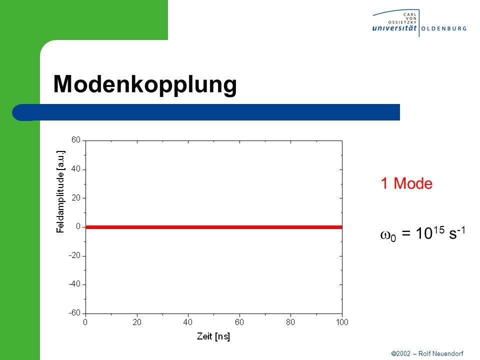 2002 – Rolf Neuendorf Modenkopplung 1 Mode 0 = 10 15 s -1