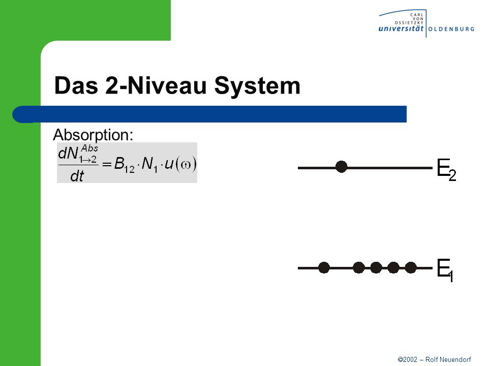 2002 – Rolf Neuendorf Das 2-Niveau System Absorption: spontane Emission: