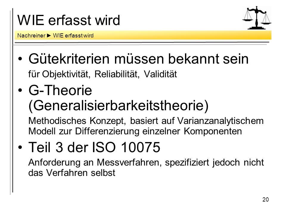 20 WIE erfasst wird Gütekriterien müssen bekannt sein für Objektivität, Reliabilität, Validität G-Theorie (Generalisierbarkeitstheorie) Methodisches Konzept, basiert auf Varianzanalytischem Modell zur Differenzierung einzelner Komponenten Teil 3 der ISO 10075 Anforderung an Messverfahren, spezifiziert jedoch nicht das Verfahren selbst Nachreiner WIE erfasst wird