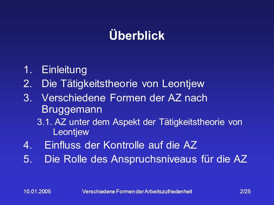 10.01.2005Verschiedene Formen der Arbeitszufriedenheit23/25 9.