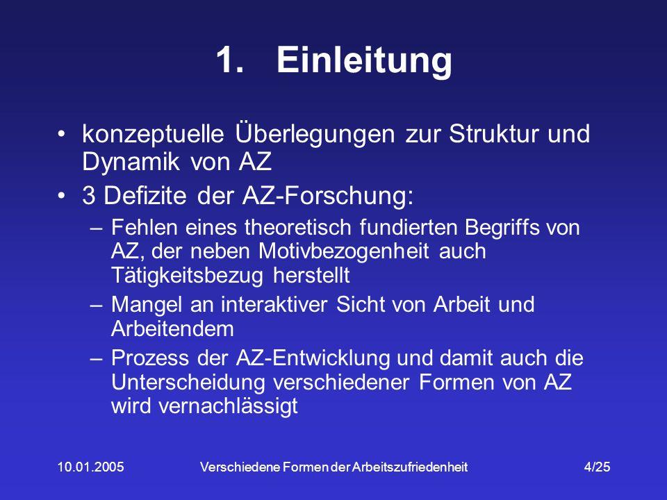 10.01.2005Verschiedene Formen der Arbeitszufriedenheit5/25 2.