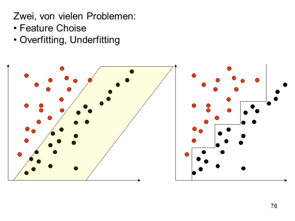 76 Zwei, von vielen Problemen: Feature Choise Overfitting, Underfitting