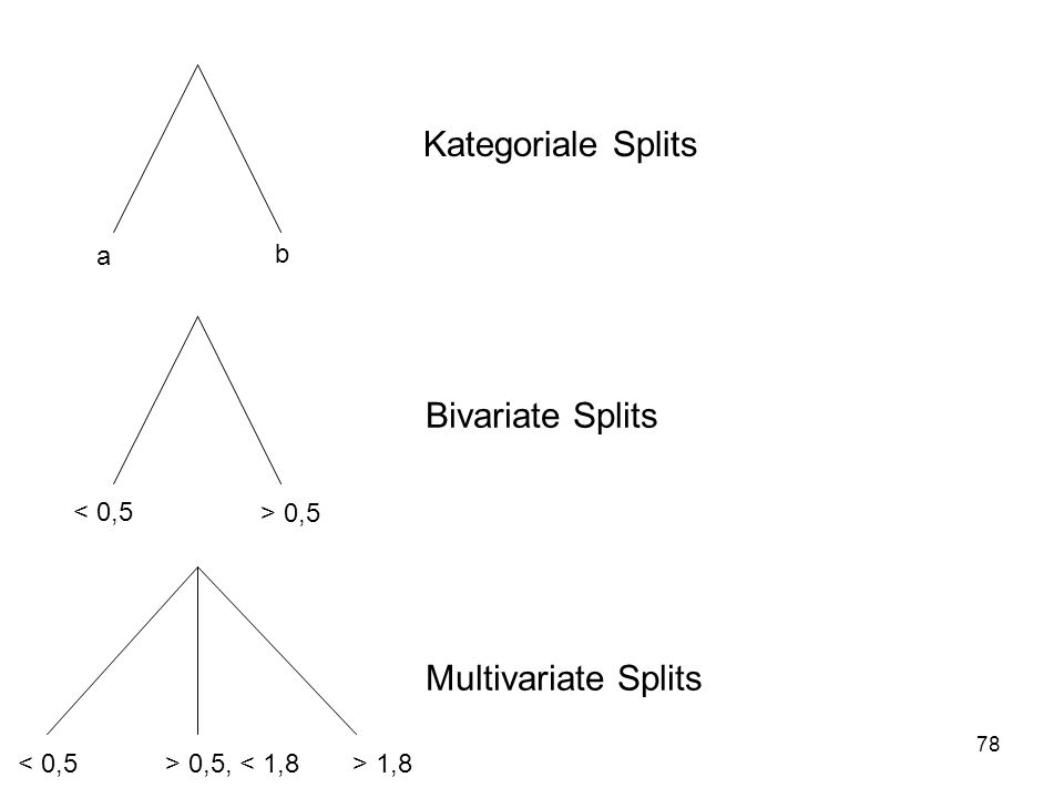 78 a b Kategoriale Splits < 0,5 > 0,5 < 0,5> 0,5, < 1,8> 1,8 Bivariate Splits Multivariate Splits