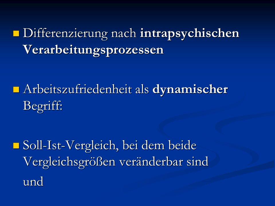 Differenzierung nach intrapsychischen Verarbeitungsprozessen Differenzierung nach intrapsychischen Verarbeitungsprozessen Arbeitszufriedenheit als dyn