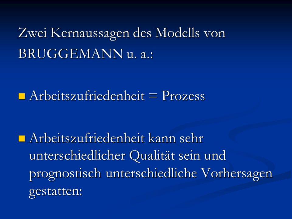 Zwei Kernaussagen des Modells von BRUGGEMANN u. a.: Arbeitszufriedenheit = Prozess Arbeitszufriedenheit = Prozess Arbeitszufriedenheit kann sehr unter