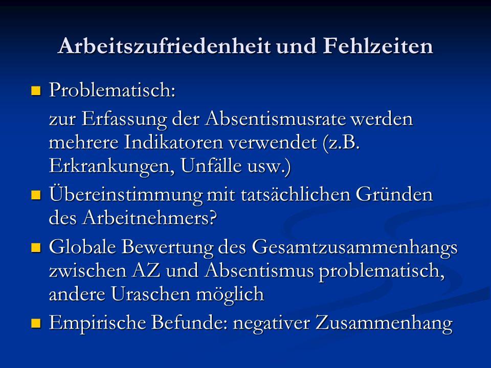 Arbeitszufriedenheit und Fehlzeiten Problematisch: Problematisch: zur Erfassung der Absentismusrate werden mehrere Indikatoren verwendet (z.B. Erkrank