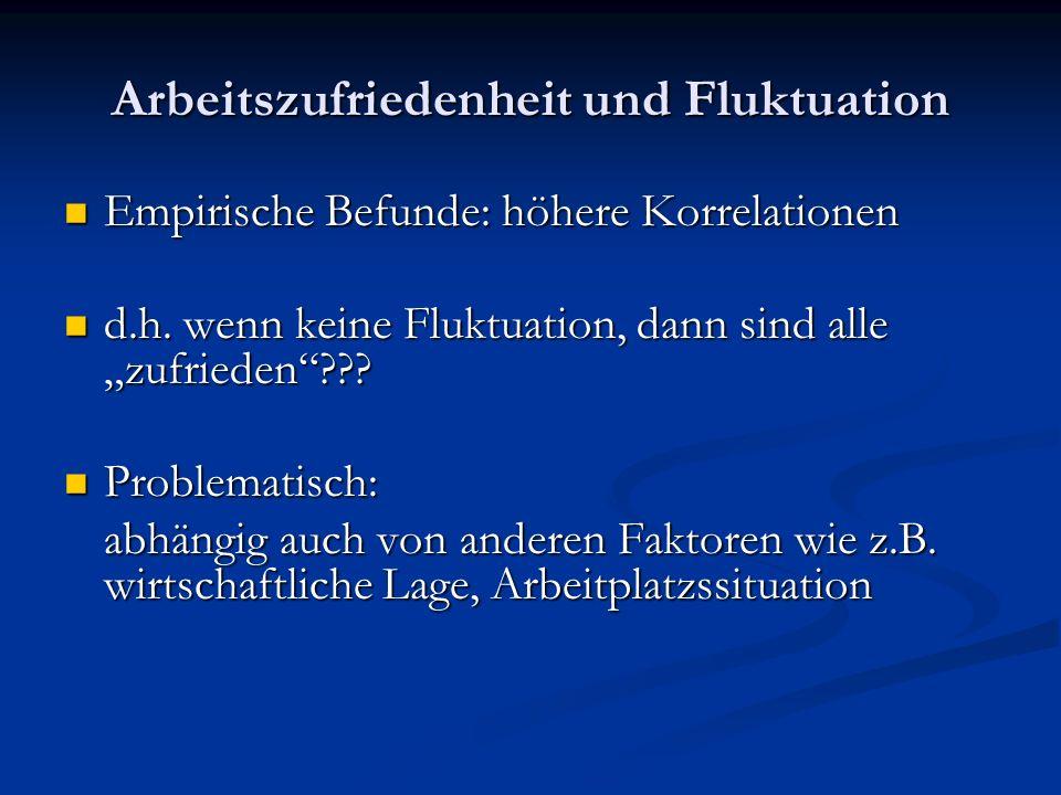 Arbeitszufriedenheit und Fluktuation Empirische Befunde: höhere Korrelationen Empirische Befunde: höhere Korrelationen d.h. wenn keine Fluktuation, da