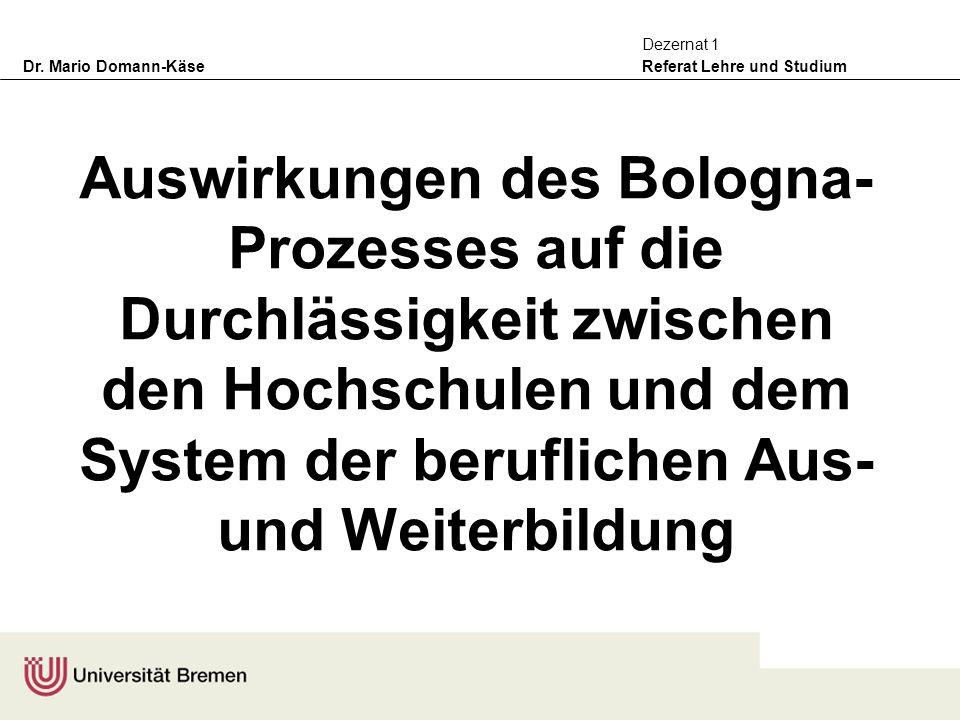 Dr. Mario Domann-Käse Referat Lehre und Studium Dezernat 1 Auswirkungen des Bologna- Prozesses auf die Durchlässigkeit zwischen den Hochschulen und de