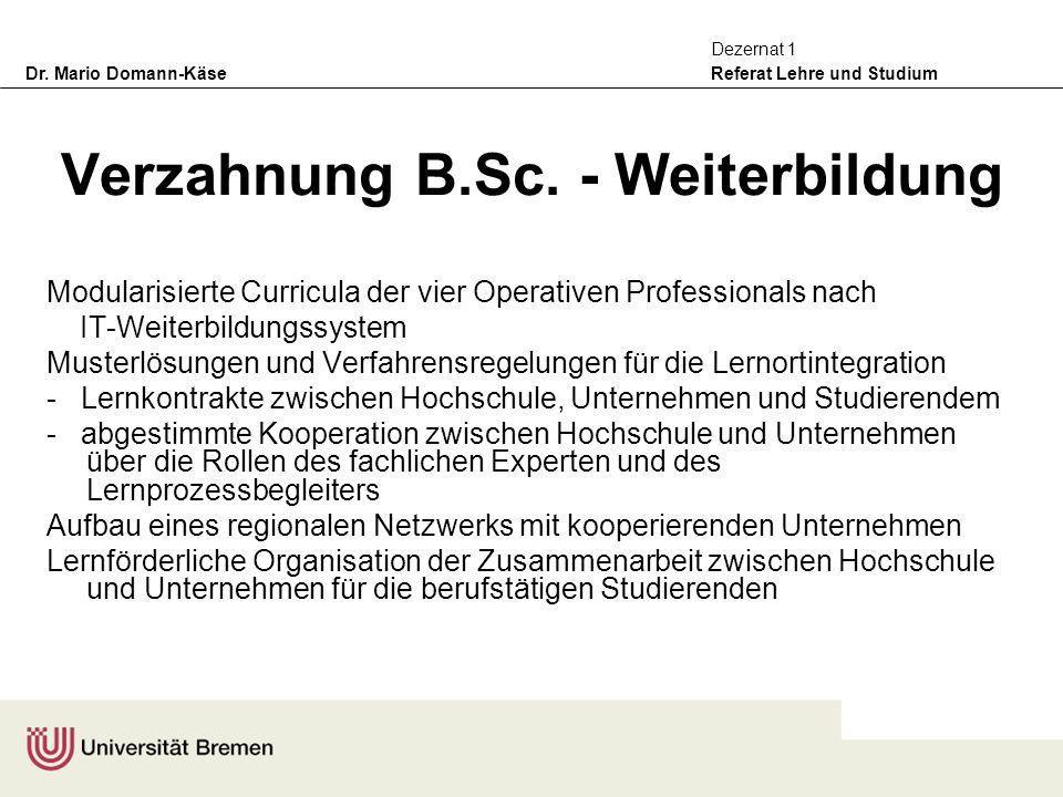 Dr. Mario Domann-Käse Referat Lehre und Studium Dezernat 1 Verzahnung B.Sc. - Weiterbildung Modularisierte Curricula der vier Operativen Professionals