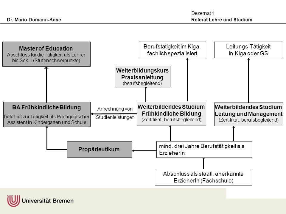 Dr. Mario Domann-Käse Referat Lehre und Studium Dezernat 1 Anrechnung von Studienleistungen Master of Education Abschluss für die Tätigkeit als Lehrer