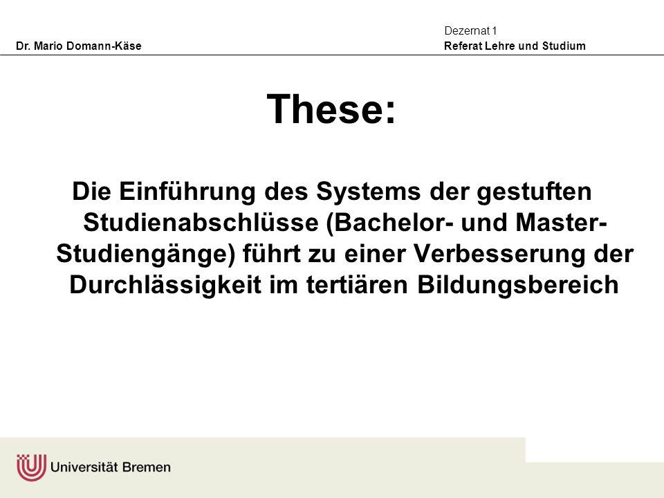 Dr. Mario Domann-Käse Referat Lehre und Studium Dezernat 1 These: Die Einführung des Systems der gestuften Studienabschlüsse (Bachelor- und Master- St