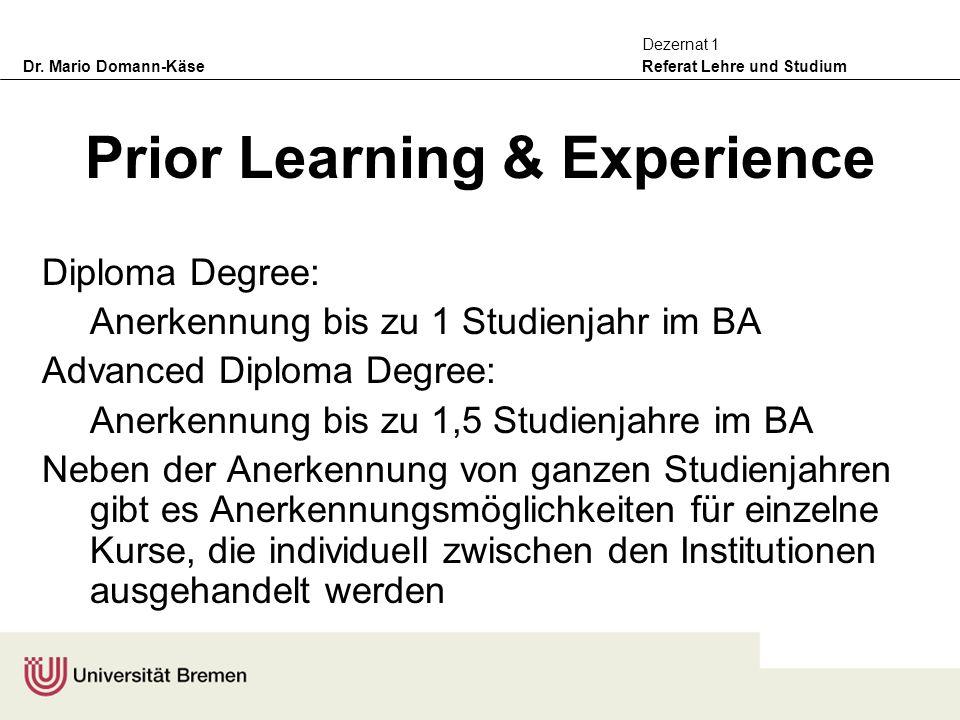 Dr. Mario Domann-Käse Referat Lehre und Studium Dezernat 1 Prior Learning & Experience Diploma Degree: Anerkennung bis zu 1 Studienjahr im BA Advanced