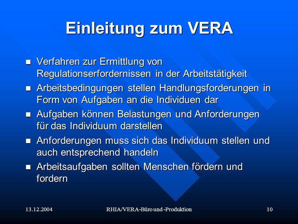 13.12.2004RHIA/VERA-Büro und -Produktion10 Einleitung zum VERA Verfahren zur Ermittlung von Regulationserfordernissen in der Arbeitstätigkeit Verfahre