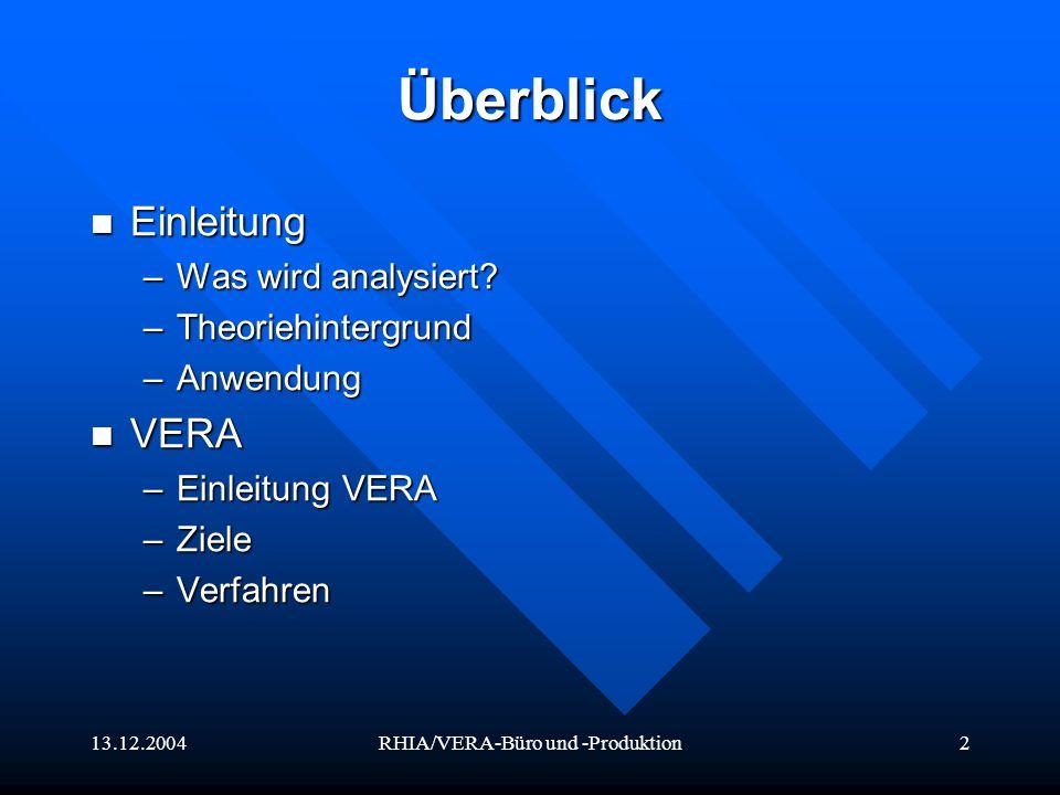 13.12.2004RHIA/VERA-Büro und -Produktion3 Überblick RHIA RHIA –Konzept Belastungen –Regulationshindernisse –Regulationsüberforderungen Reliabilität & Validität VERA/RHIA-Büro Reliabilität & Validität VERA/RHIA-Büro Reliabilität & Validität VERA/RHIA-Produktion Reliabilität & Validität VERA/RHIA-Produktion