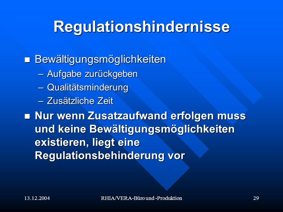 13.12.2004RHIA/VERA-Büro und -Produktion29 Regulationshindernisse Bewältigungsmöglichkeiten Bewältigungsmöglichkeiten –Aufgabe zurückgeben –Qualitätsm