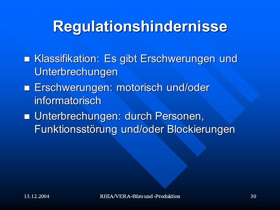 13.12.2004RHIA/VERA-Büro und -Produktion30 Regulationshindernisse Klassifikation: Es gibt Erschwerungen und Unterbrechungen Klassifikation: Es gibt Er