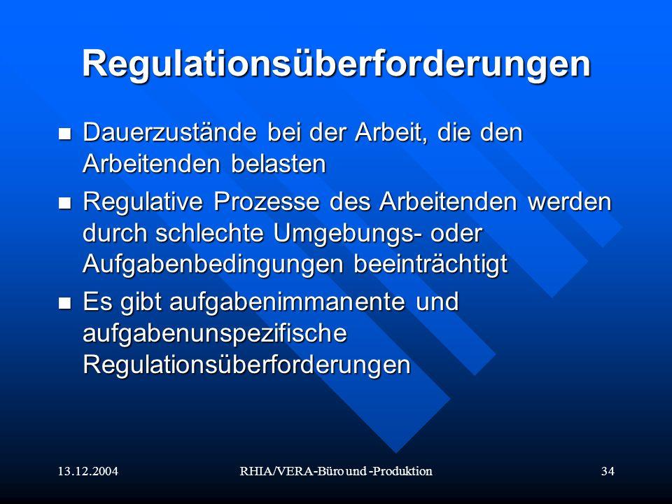 13.12.2004RHIA/VERA-Büro und -Produktion34 Regulationsüberforderungen Dauerzustände bei der Arbeit, die den Arbeitenden belasten Dauerzustände bei der