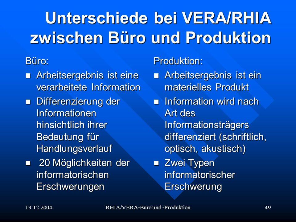 13.12.2004RHIA/VERA-Büro und -Produktion49 Unterschiede bei VERA/RHIA zwischen Büro und Produktion Büro: Arbeitsergebnis ist eine verarbeitete Informa
