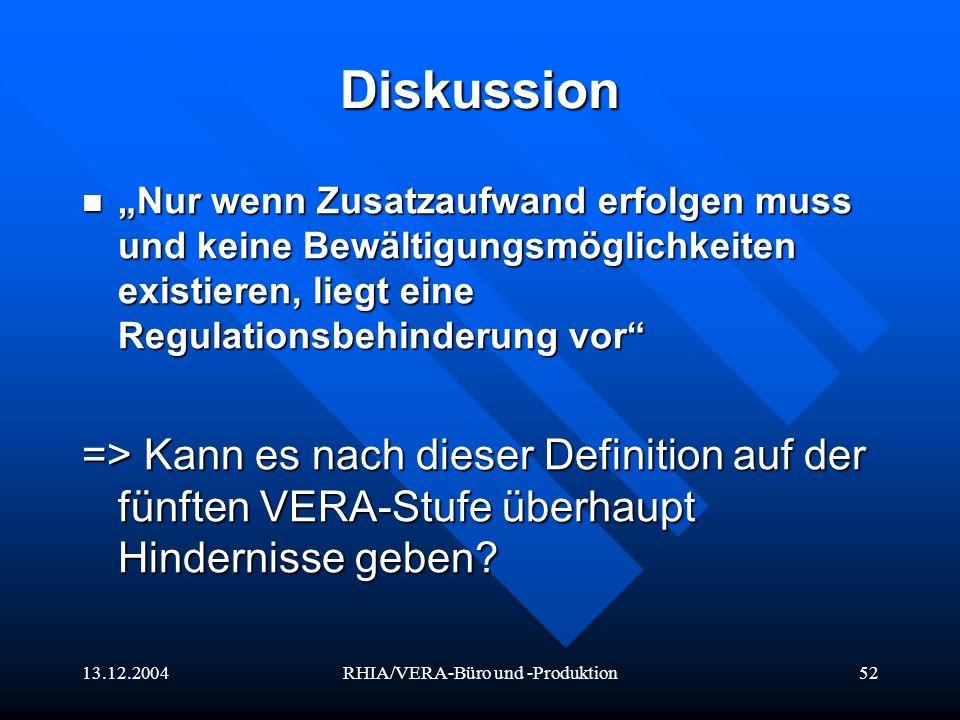 13.12.2004RHIA/VERA-Büro und -Produktion52 Diskussion Nur wenn Zusatzaufwand erfolgen muss und keine Bewältigungsmöglichkeiten existieren, liegt eine