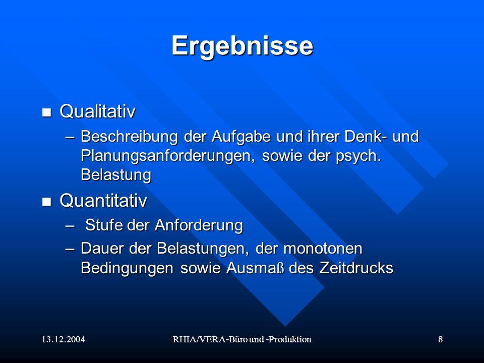 13.12.2004RHIA/VERA-Büro und -Produktion8 Ergebnisse Qualitativ Qualitativ –Beschreibung der Aufgabe und ihrer Denk- und Planungsanforderungen, sowie
